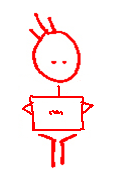 Stick man with laptop.