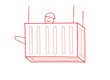 Image for Export Control.Container with stick figure man and tank barrel poking out.